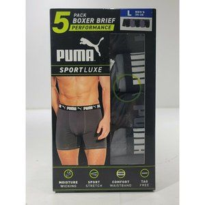 Puma Performance Sport Luxe Mens Boxer Briefs 5 Pack Large 36-38 NEW